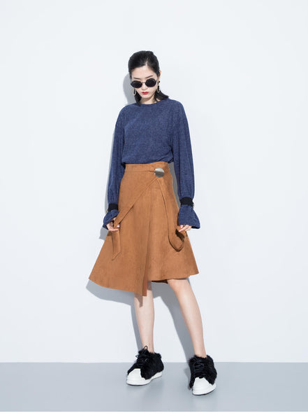 Camel Silas Suede Wrap Skirt