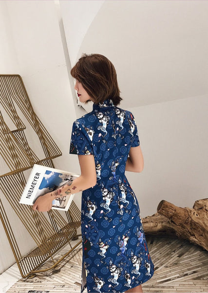 Playful Cat Print Cheongsam