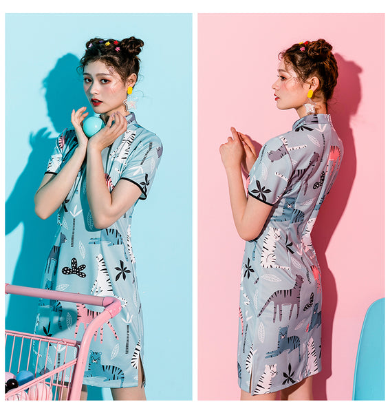 Cutie Cat Prints Cheongsam