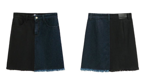 Dual Tone Denim Skirt