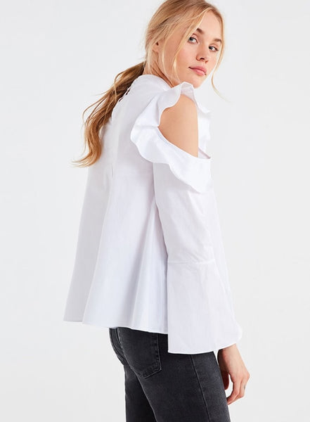 Shoulder Ruffle Flare Sleeve Top