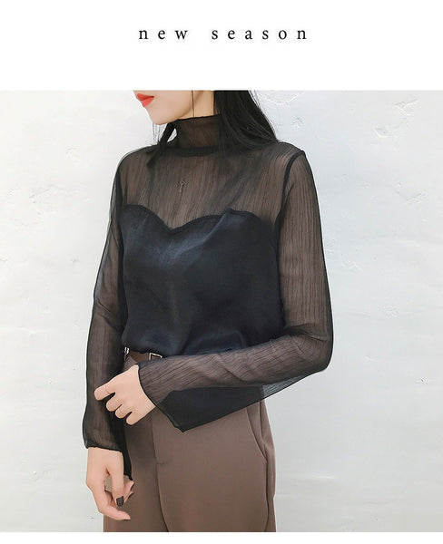 Kloe Black Gauze Satin Top