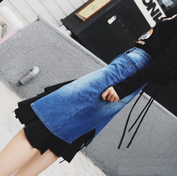 Interlayering Denim Skirt
