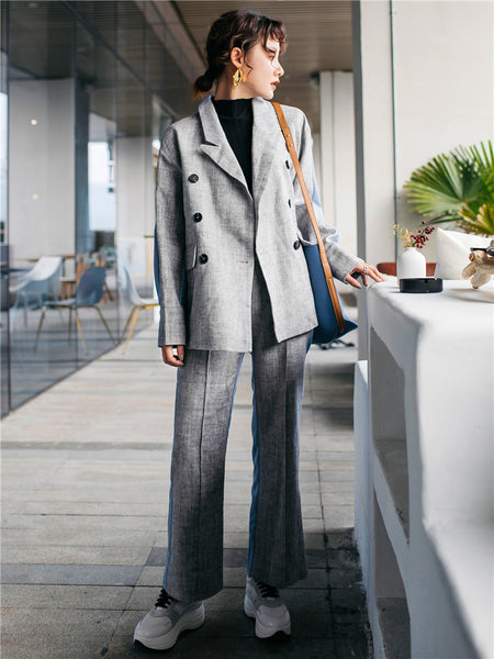 2 Fabric Cool Jacket Suit with Pants