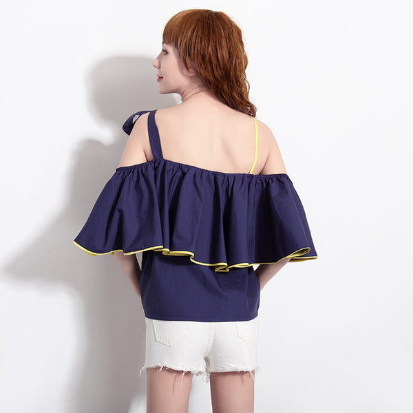 Joyrika 2 Way Off Shoulder Blouse (Blue)