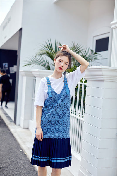 Blue Lace Pinafore Dress