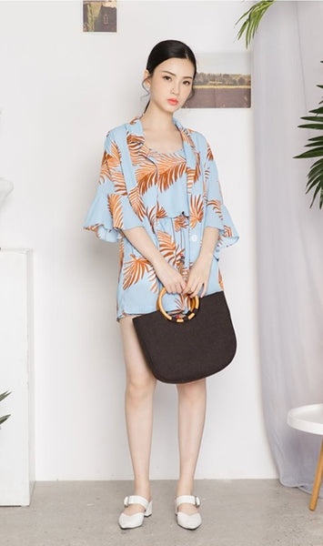 Printed Jacket and Spagetti Top Shorts Set