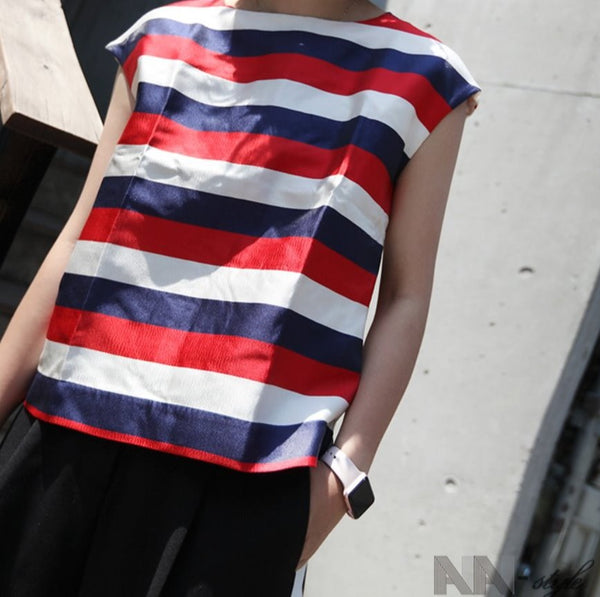 Blue Red Block Lines Sleeveless Top