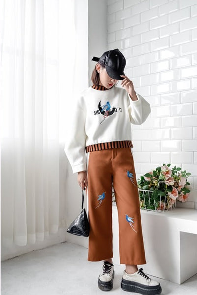 Embroidery Design Tailored 3/4 Pants