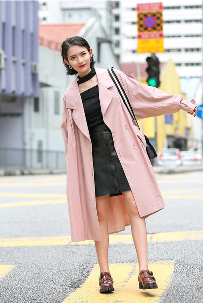 Dusty Pink Spring Trench Coat