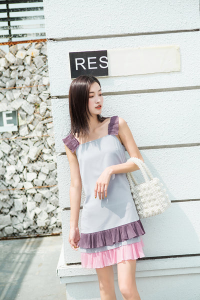 Purple Tone Ruffle Layers Dress