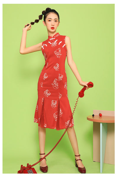 Sleeveless Red Split Hem Cheongsam