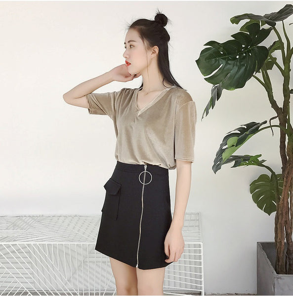 Xoan Ring Zipper Short Skirt