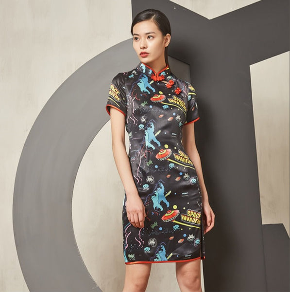 Space Invader Prints Cheongsam