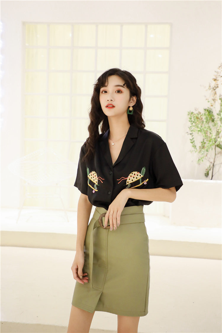 Embroidery Front Blouse