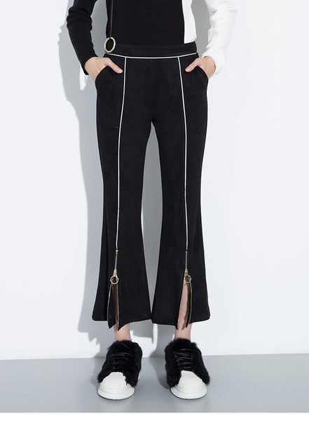 Varvara Suede Mid Length Pants