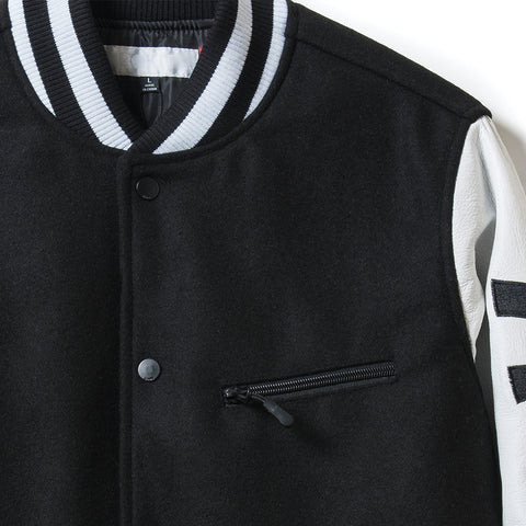 Courtside Varsity Jacket - Black