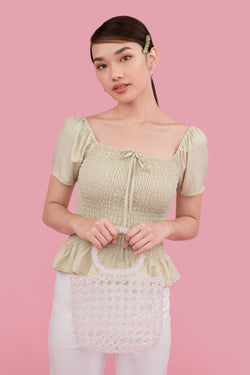 Dionne Puff Sleeve Peplum Top