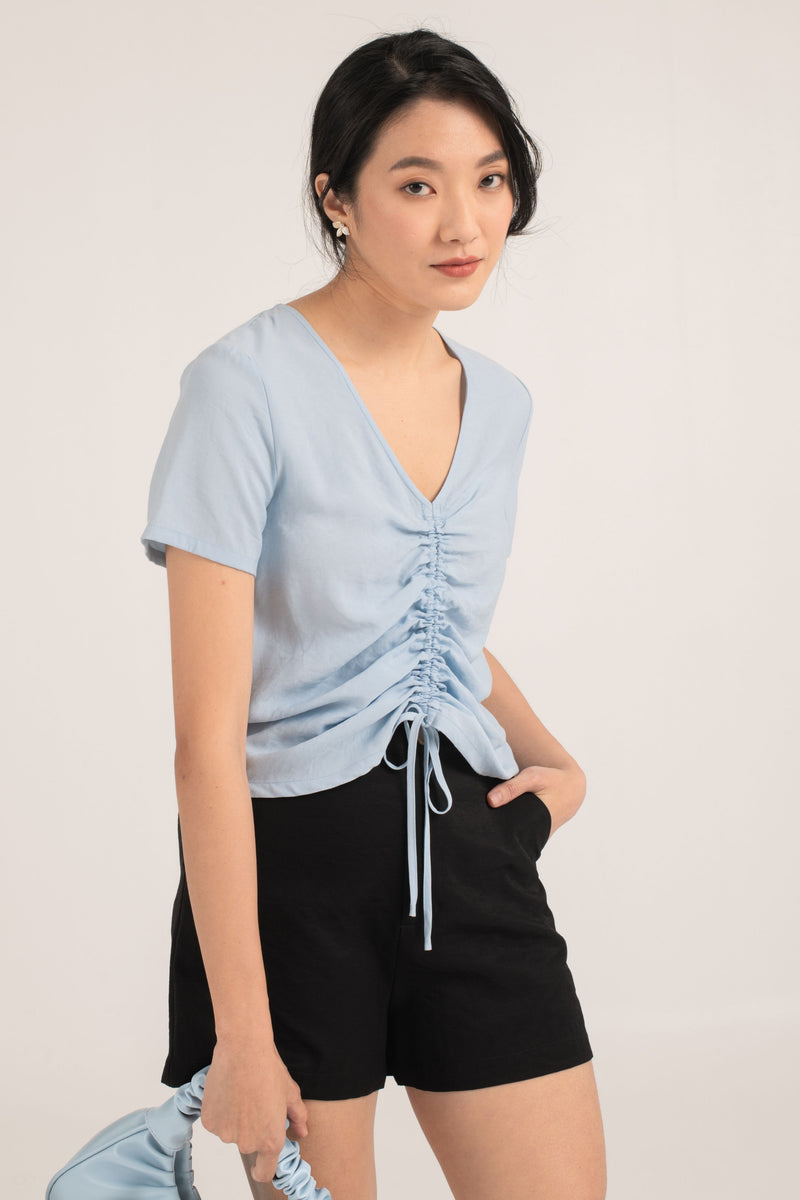 Thekla Ruched Top in Blue
