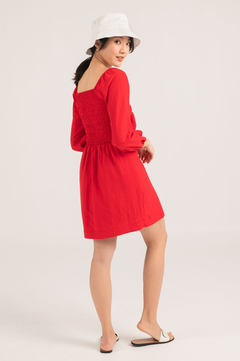 Abril Tie Front Dress in Red