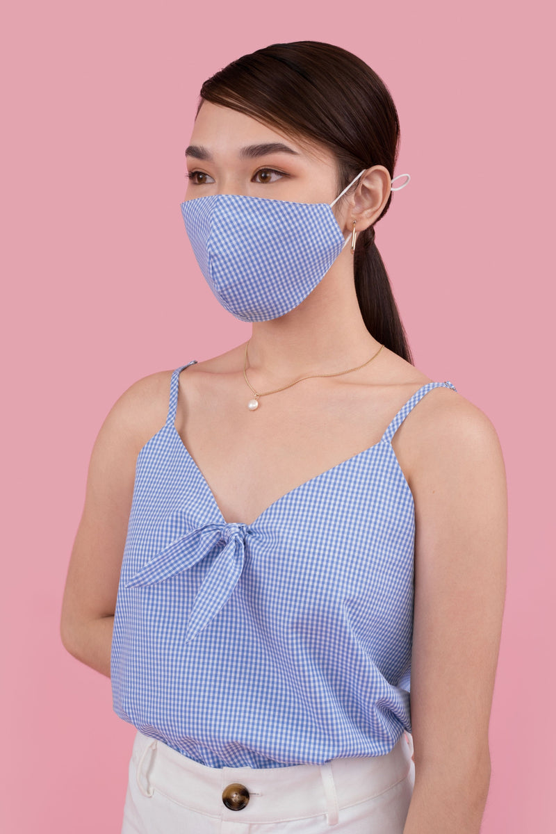 Checkered Reusable Face Mask in Blue