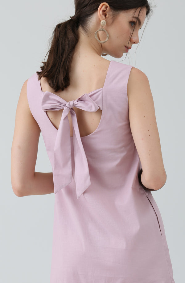 Sheryl Pink Bow Dress