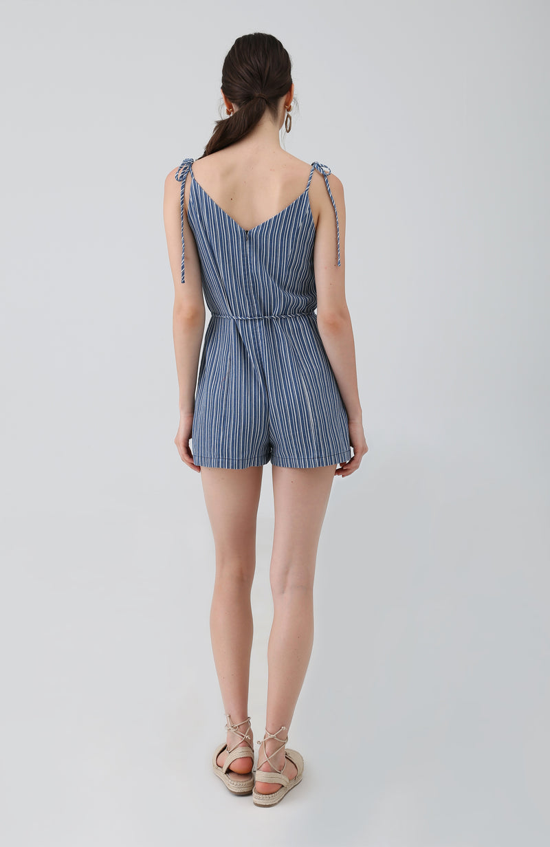 Oia Striped Romper in Navy Blue