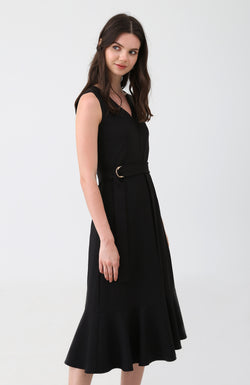 Betsie Belted Ruffle Dress