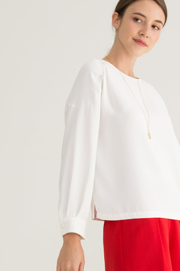 Liska Pleated Shoulders Top