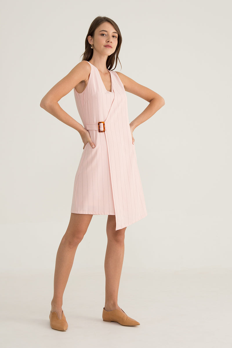Darla Asymmetrical Belted Dress