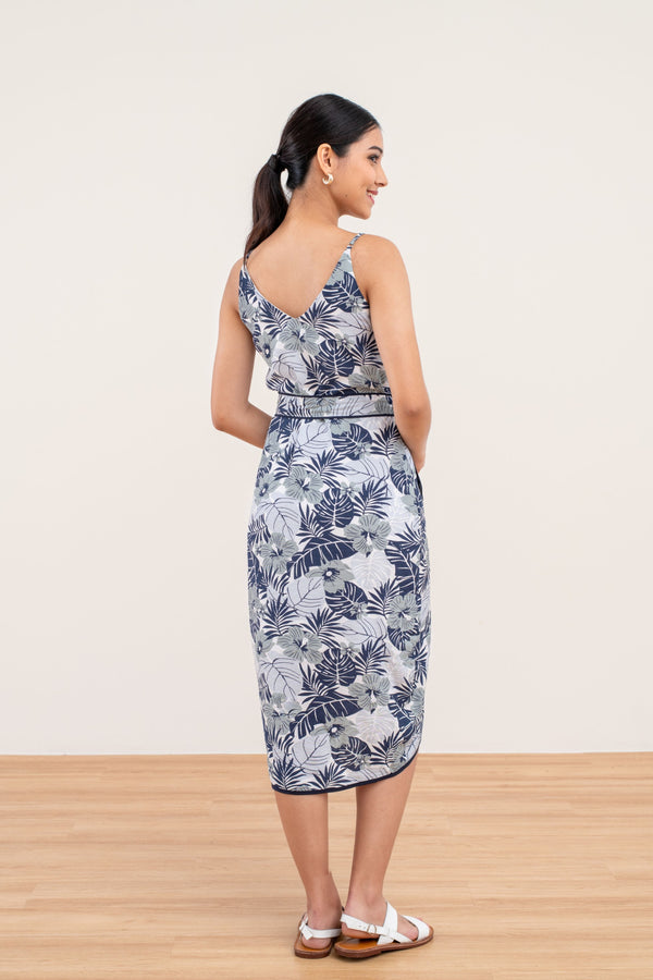 Kennedy Tropical Print Dress in Blue