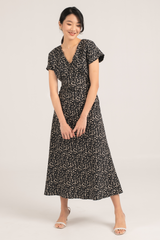 Florencia Printed Maxi Dress in Black