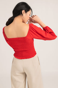 Bella Ruched Long Sleeve Top in Red