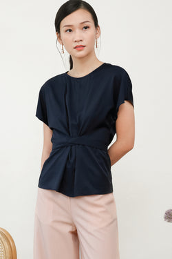 Louisa Sleeve Top in Navy Blue