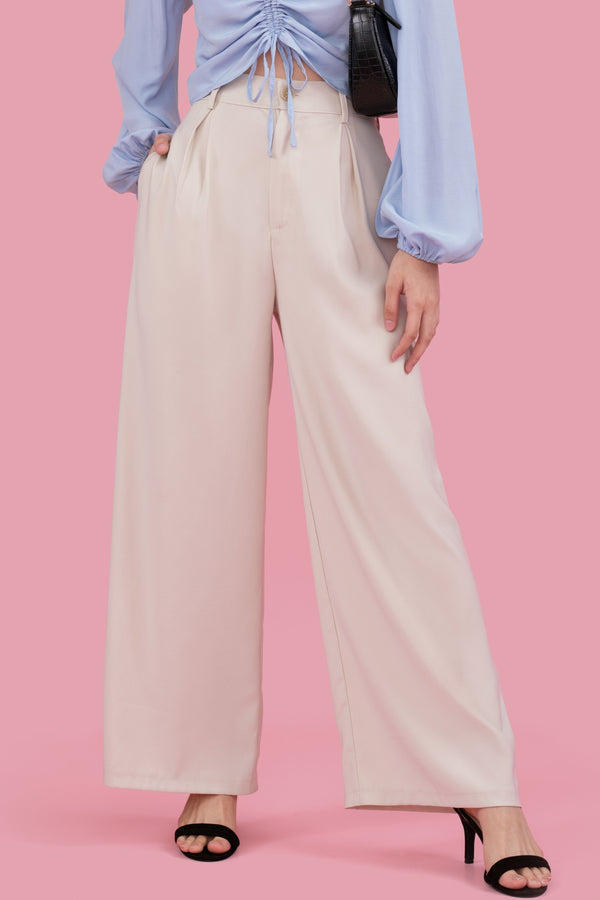 Lauren Pleated Culottes in Beige