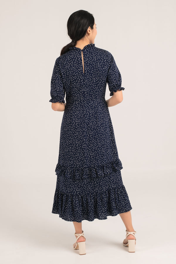 Ivette Printed Maxi Dress in Navy