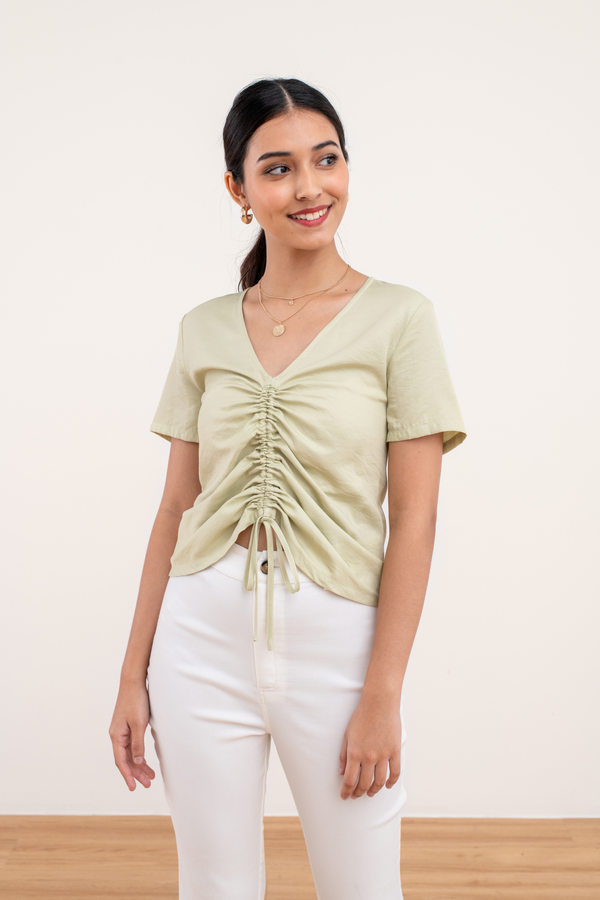 Thekla Ruched Top in Green