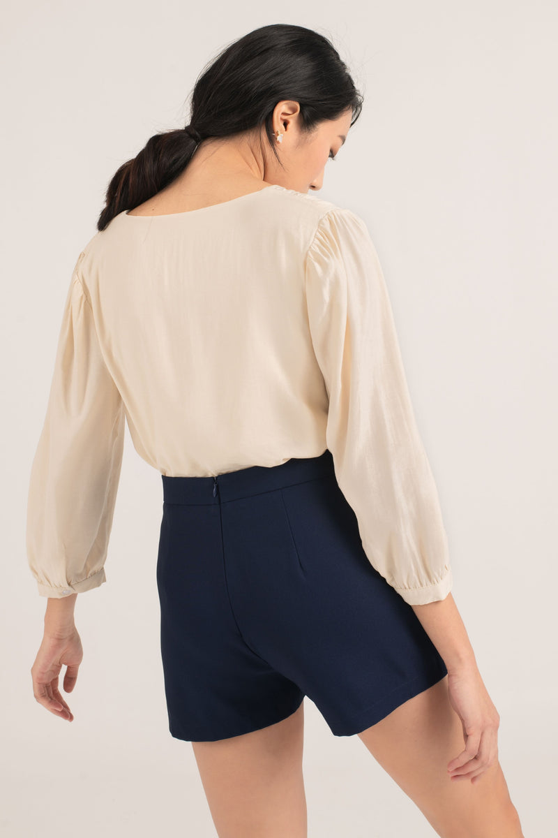 Faye Pleated Top in Beige