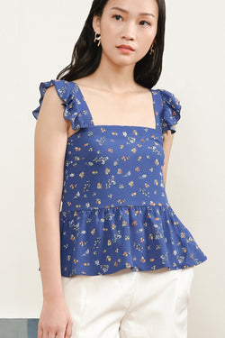 Madeline Printed Ruffle Top In Blue