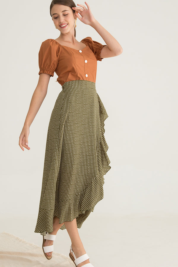 Nellssa Printed Ruffled Maxi Skirt