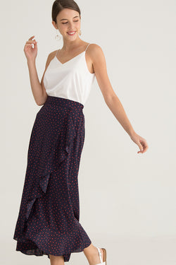 Riane Printed Ruffled Maxi Skirt