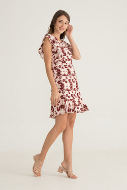 GINNETTE RUFFLE SLEEVELESS MIDI DRESS