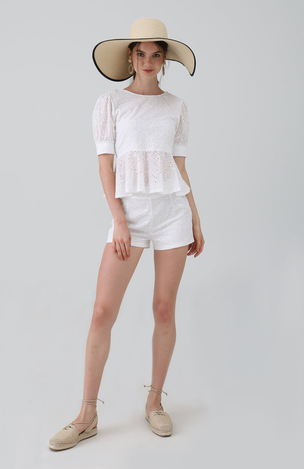 Ria Broderie Anglaise Lace Shorts