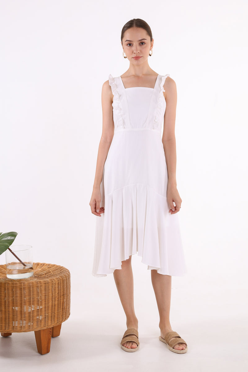 Lavinia Midi Ruffle Hem Dress