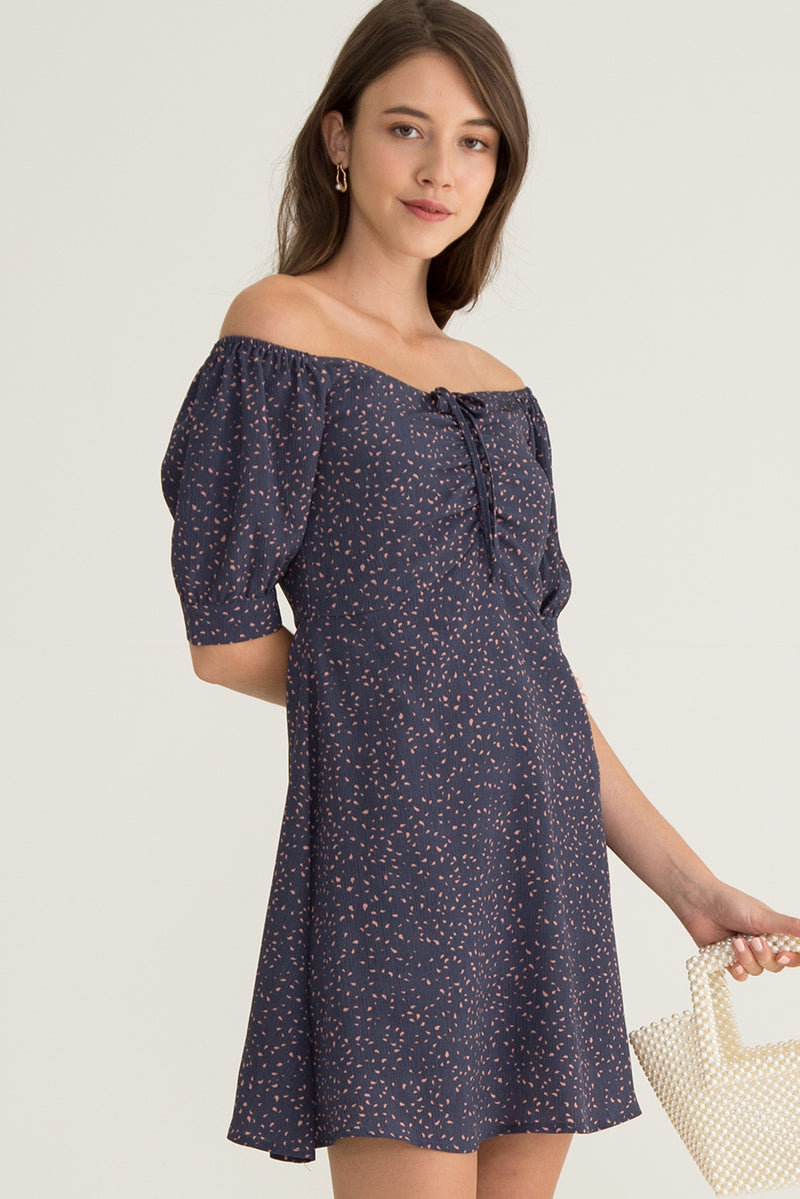 Celia Front Ruched Printed Dress in Blue