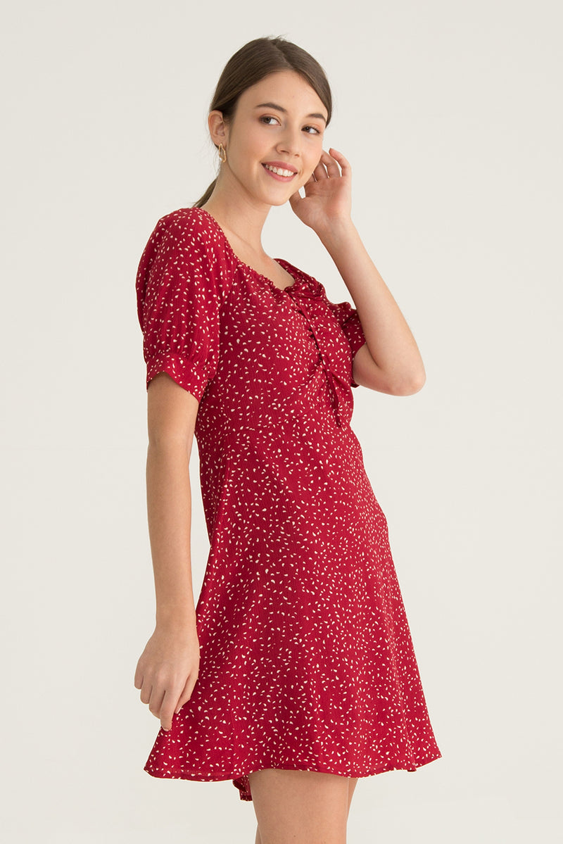 Celia Front Ruched Printed Dress in Red