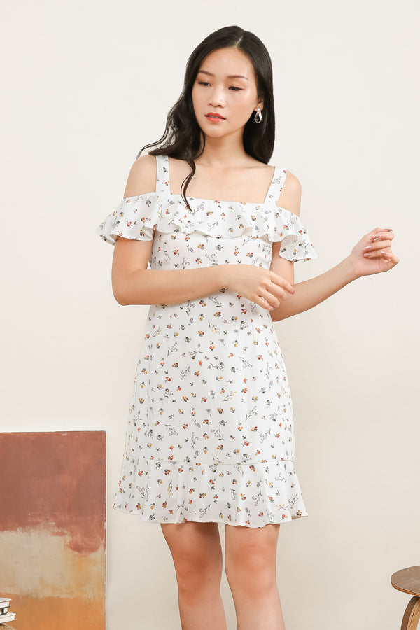 Madeline Printed Ruffle Dress In White
