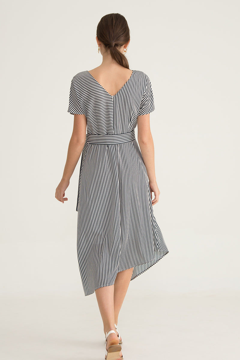 Rosie Printed Stripe Asymmetrical Dress