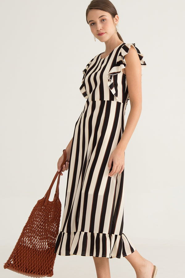 Clane Stripe Ruffle Midi Dress in Black