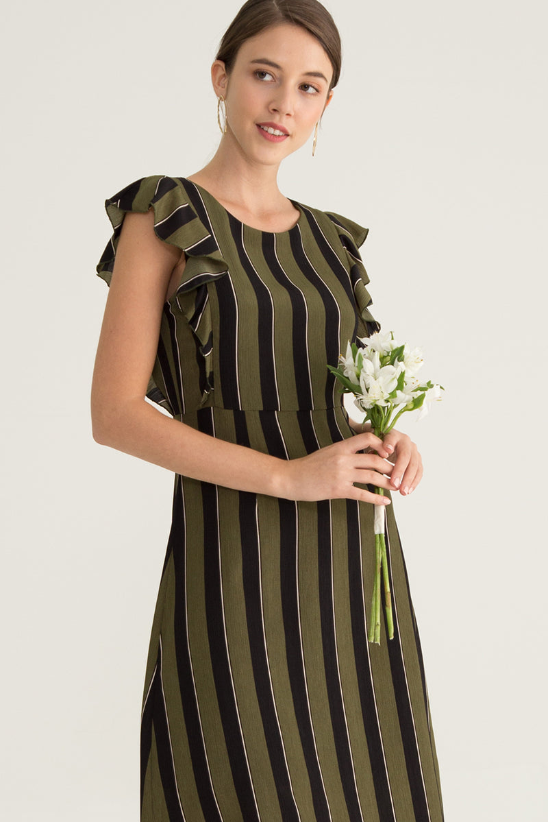 Clane Stripe Ruffle Midi Dress in Green